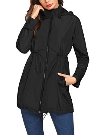 ac05f9fbd Mofavor Women's Lightweight Hooded Waterproof Long Windbreaker Active  Outdoor Rain Jacket Black S