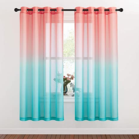 Green,W55 X L84 Yancorp Sheer Curtains Green Color Linen Drapes Rainbow Curtains for Girls Room Living Room Kids Bedroom 84 Inches Length Rainbow Colors Panels Party Backdrop Window Curtain