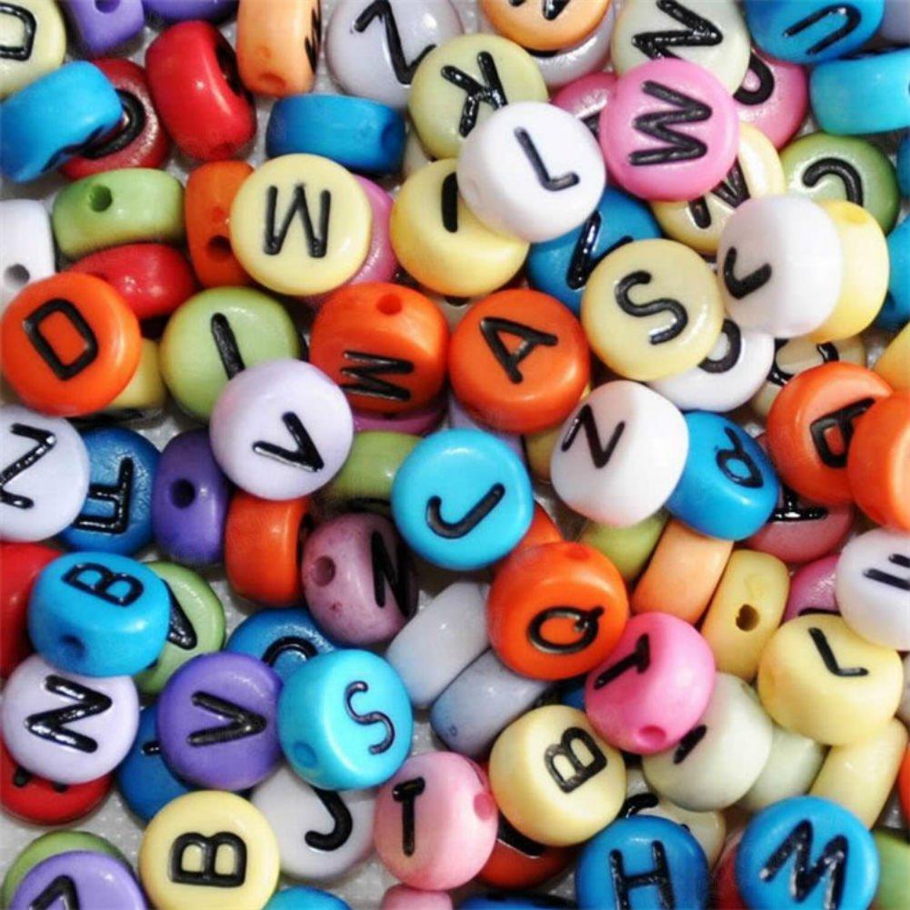 250 x 7mm Pink Letter Beads Round Alphabet Beads Kids Craft Bracelets