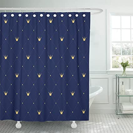 Emvency Shower Curtain Best Navy Blue In Retro Gold Crown Premium Royal Waterproof Polyester Fabric 60