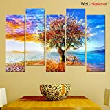 WallMantra Premium Canvas Tree Wall Hanging Framed, Standard Size (Multicolour)