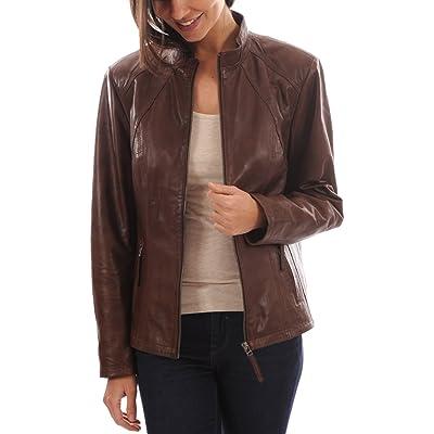 Leather Planet Women's Lambskin Leather Bomber Biker Jacket Medium Brown at Women's Coats Shop