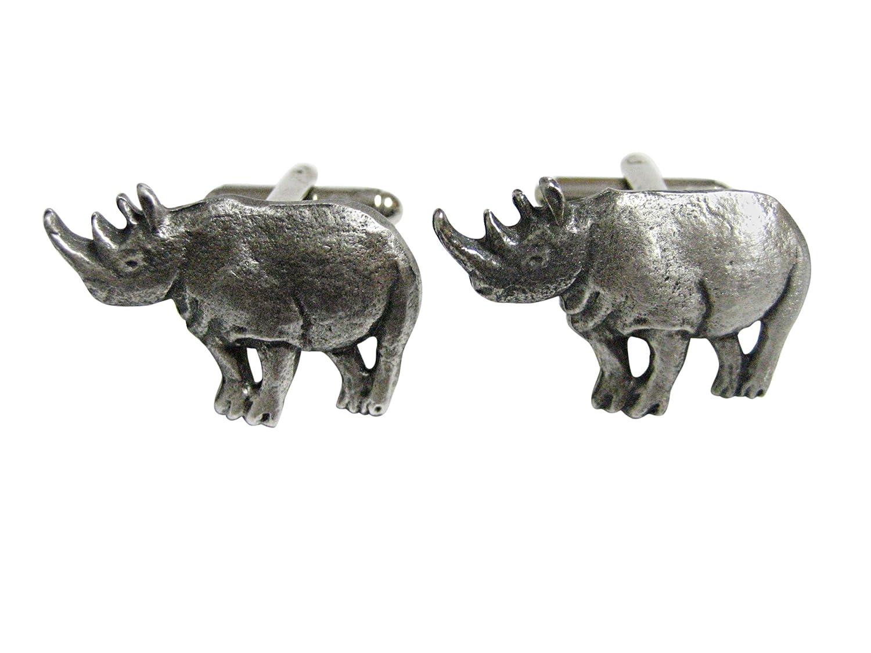 Textured Rhino Pendant Cufflinks