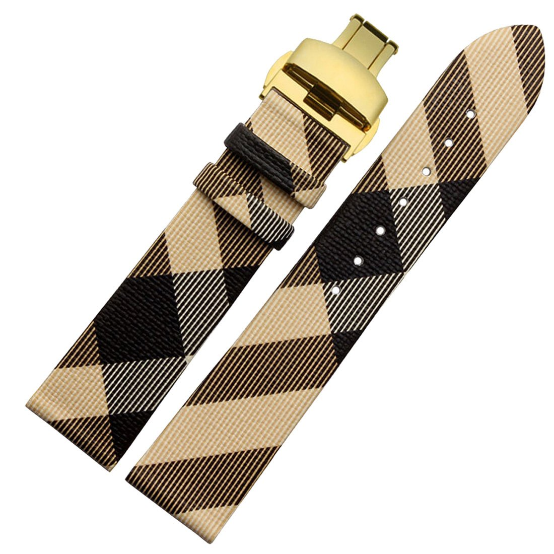 bolisi本革時計バンド交換用時計ストラップステンレスメタルクラスプ付きBurberry Watches 18mm Beige-gold B0757LVG74 18mm|Beige-gold Beige-gold 18mm