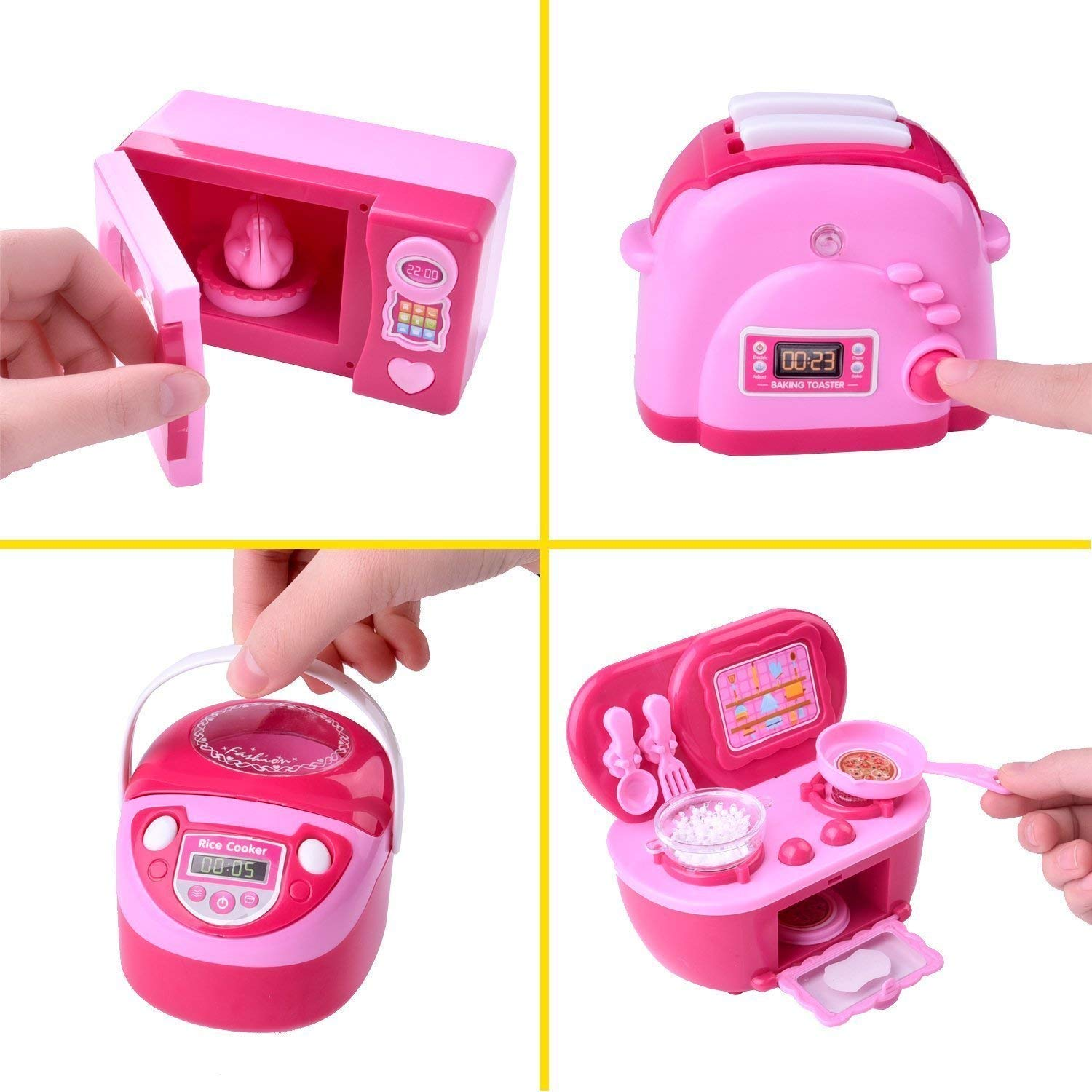 Kitchen Toys for Kids, 6PCs Mini Electric Simulation Play Kitchen Accessories Inculiding Microwave Oven, Toaster, Refrigerator, Rice Cooker, Egg Stepper, Pink Kids Cooking Set Appliances for Girls by FUN LITTLE TOYS (Image #4)