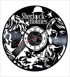 Sherlock Holmes Wall Clock Vintage Record - Get Unique Home and Office Decor Bedroom Kitchen Kids Living Room - Gifts for Men Women Kids Father Mother - Modern Wall Art Design - Free Personalization