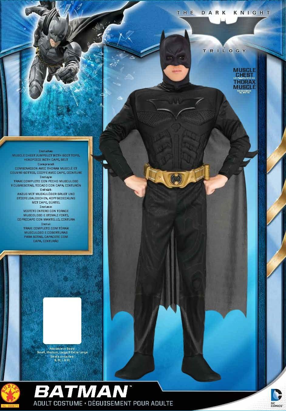 Nero Poliestere M Rubies 880671 Costume di Batman per uomo