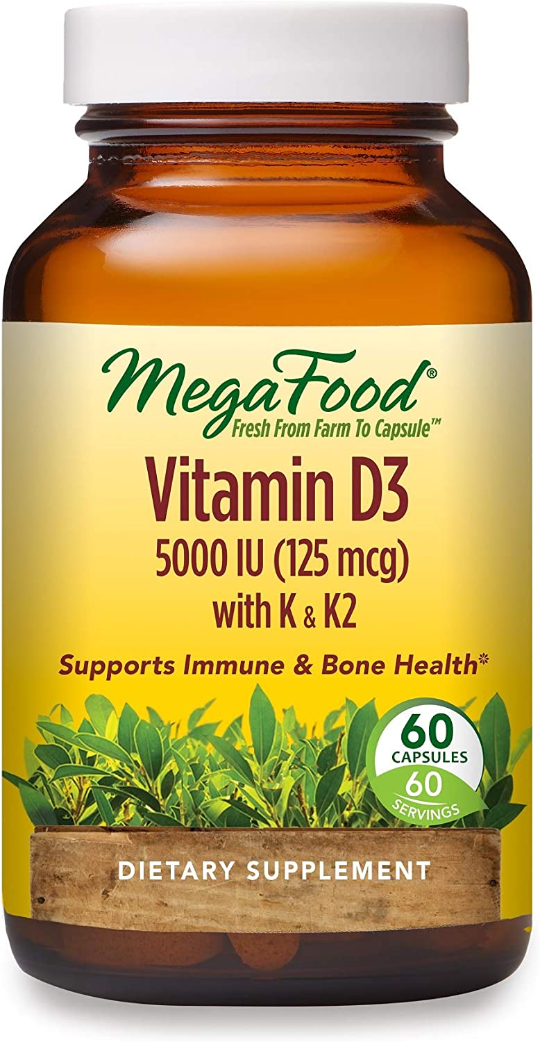 MegaFood, Vitamin D3 5000 IU, Immune and Bone Health Support, Dietary Supplement, 60 Tablets