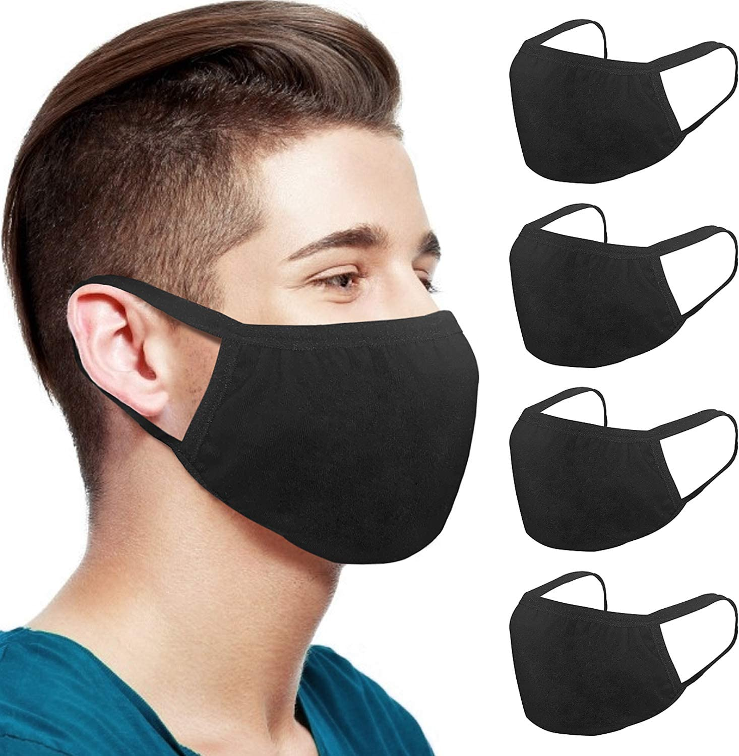 2 Pack of Reusable Dust Face Protection Unisex Mouth Cover Adjustable Breathable Dustproof Washable with 4 PCS Replaceme