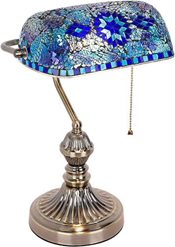 Marrakech Mosaic Lamp Traditional Antique Brass Bankers Table Lamp Vintage Tiffany Style Turkish Mosaic Glass Desk Lamp