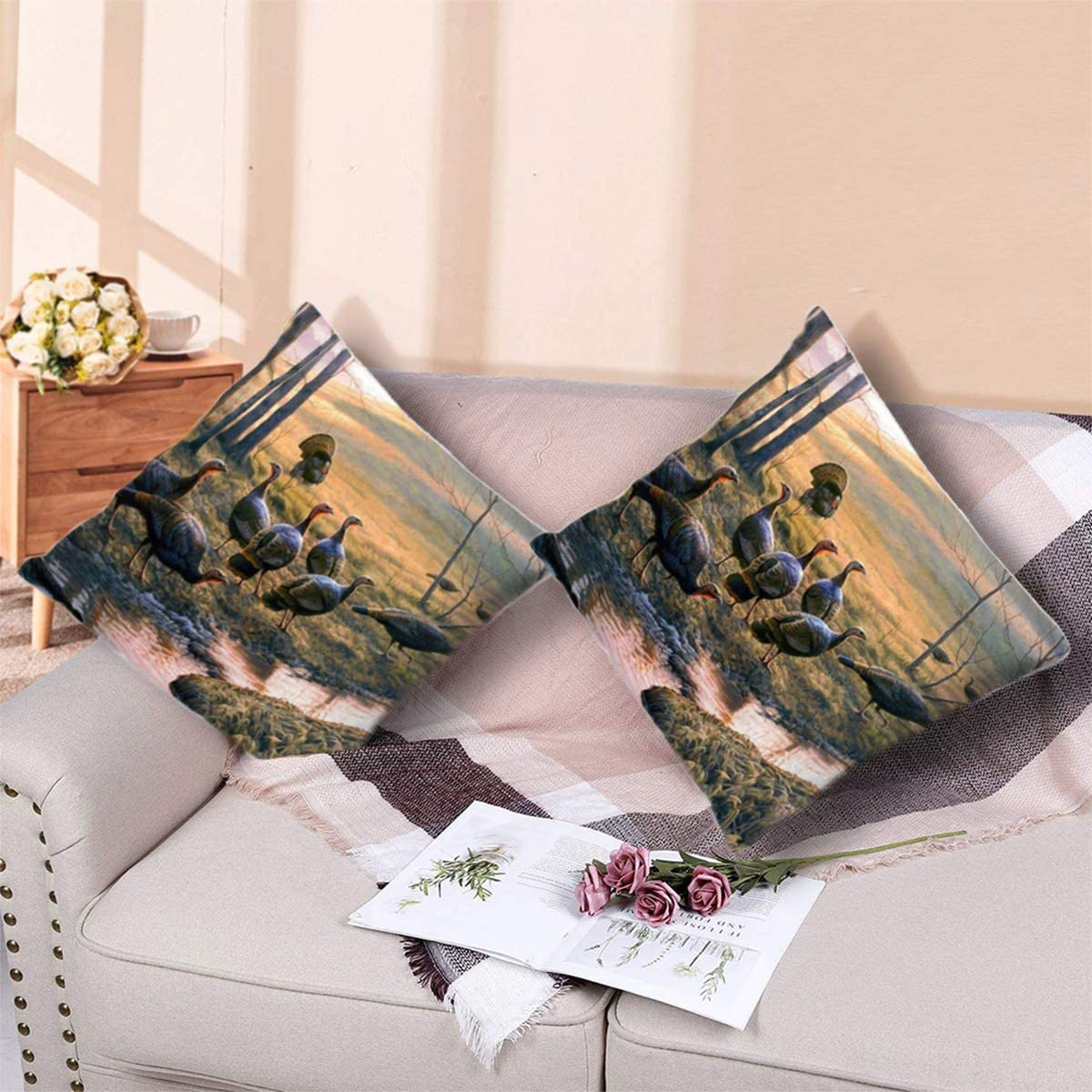"""Throw Pillow Cover Turkey Forest Bed Sofa Pillow Case Sleeping Pillow Soft Cushion 18"""" X 18"""""""