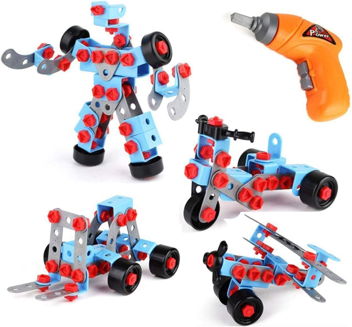 Toyvelt Take Apart Stem Learning Kids Toys - Educational Building Blocks Set (286 Pieces) With Electric Drill Toy - Great Gift for Boys and Girls Ages 3 4 5 6 - 12 years old
