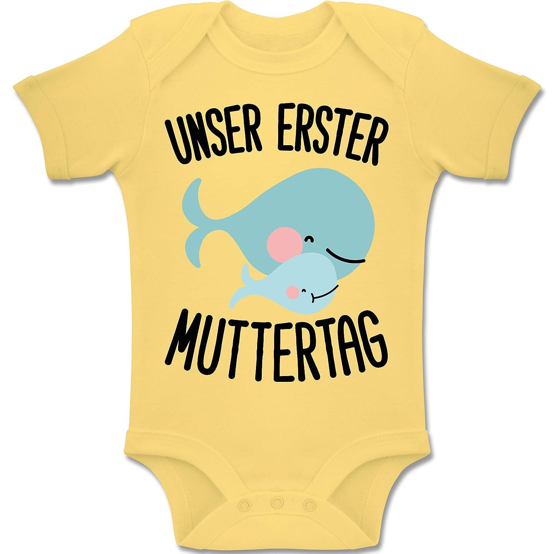 Unser erster Muttertag Wale Baby Body Kurzarm Jungen M/ädchen Shirtracer Muttertag Baby