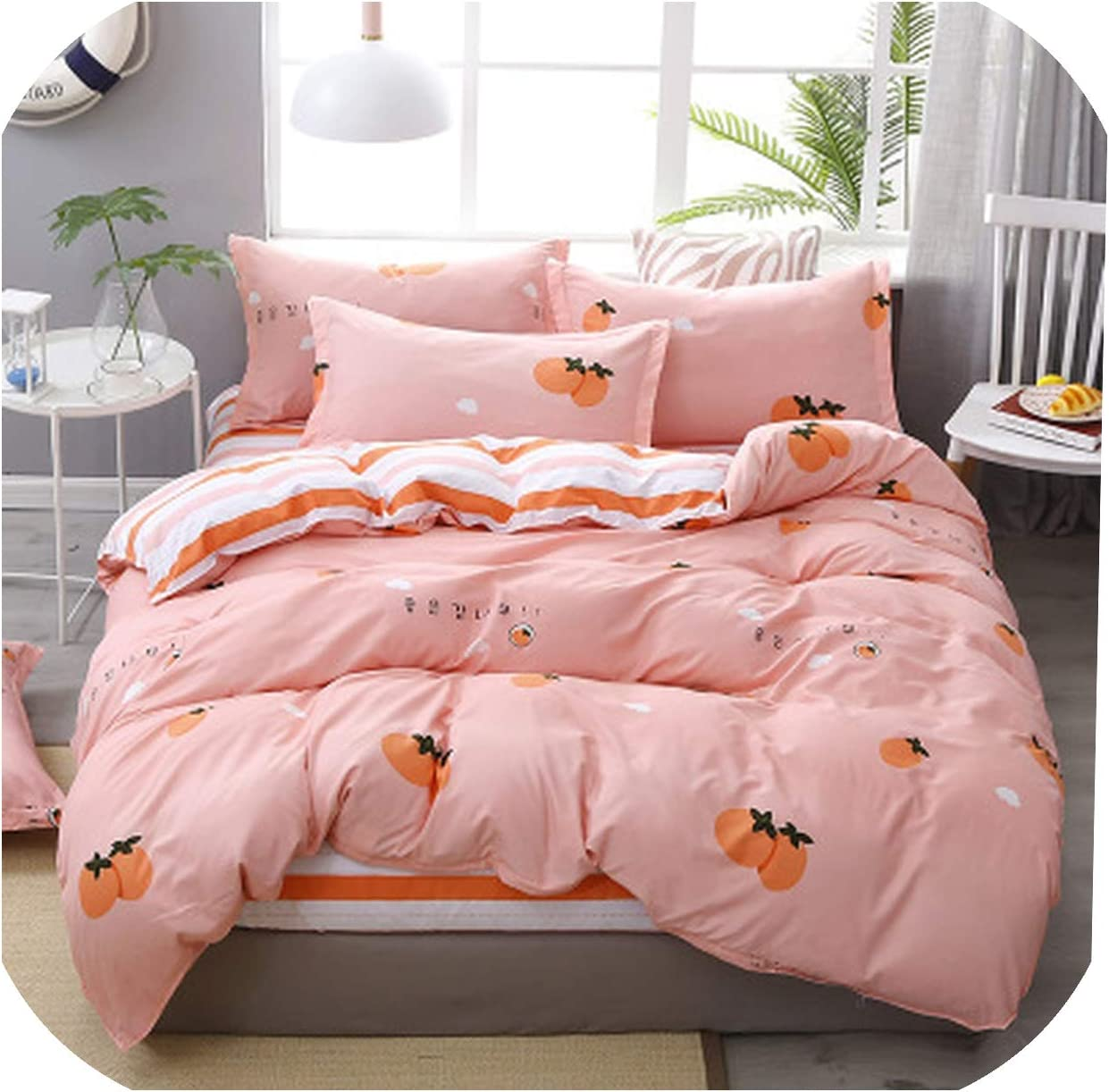 Amazon Com Visible Wind 4pcs Pink Strawberry Kawaii Bedding Set Luxury Queen Size Bed Sheets Children Quilt Soft Comforter Cotton Bedding Sets For Girl 05 King 2 0m Bed Home Kitchen
