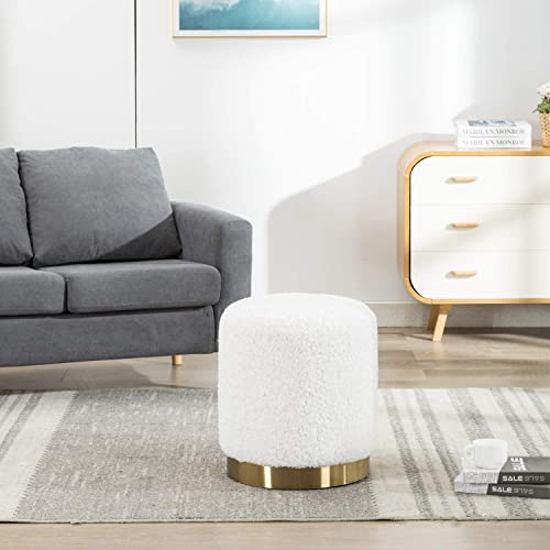 Guyou Soft Fuzzy Faux Rabbit Fur Round Ottoman, Upholstered Footrest Stool with Gold Plating Base, Extra Seat for Living Room, Bedroom Ivory White