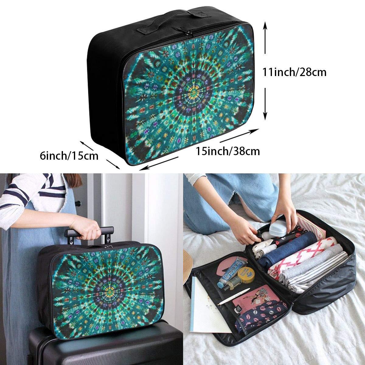 Indian Spiral Tie Dye Mandala Green Travel Fashion Lightweight Large Capacity Duffel Portable Waterproof Foldable Storage Carry Luggage Tote Bag