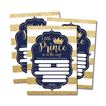 Amazon Com 25 Little Prince Baby Shower Invitations Navy Gold