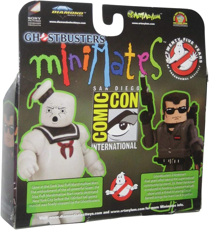 Diamond Select Toys Glow-In-The-Dark Minimates 2009 SDCCSan Diego Comic-Con Exclusive Ghostbusters 2-Pack Peter Venkman and Stay Puft Marshmallow Man