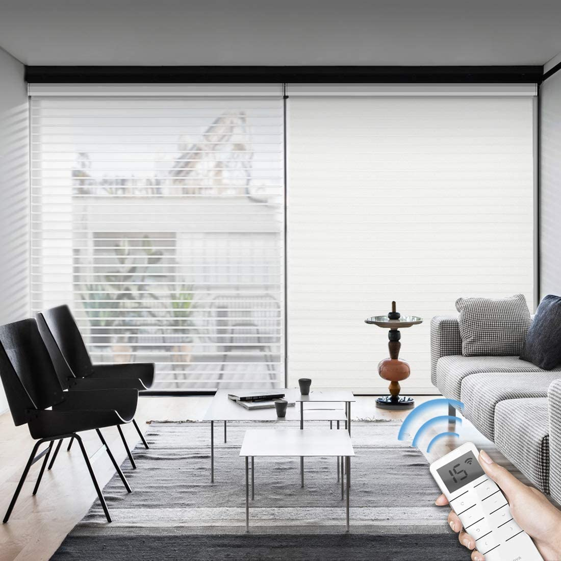 Graywind Motorized Light Filtering Cordless Shangrila Roller Blinds Remote Control Rechargeable Wireless Privacy Sheer Blind with Valance for Smart Home and Office, Customized Size (White)