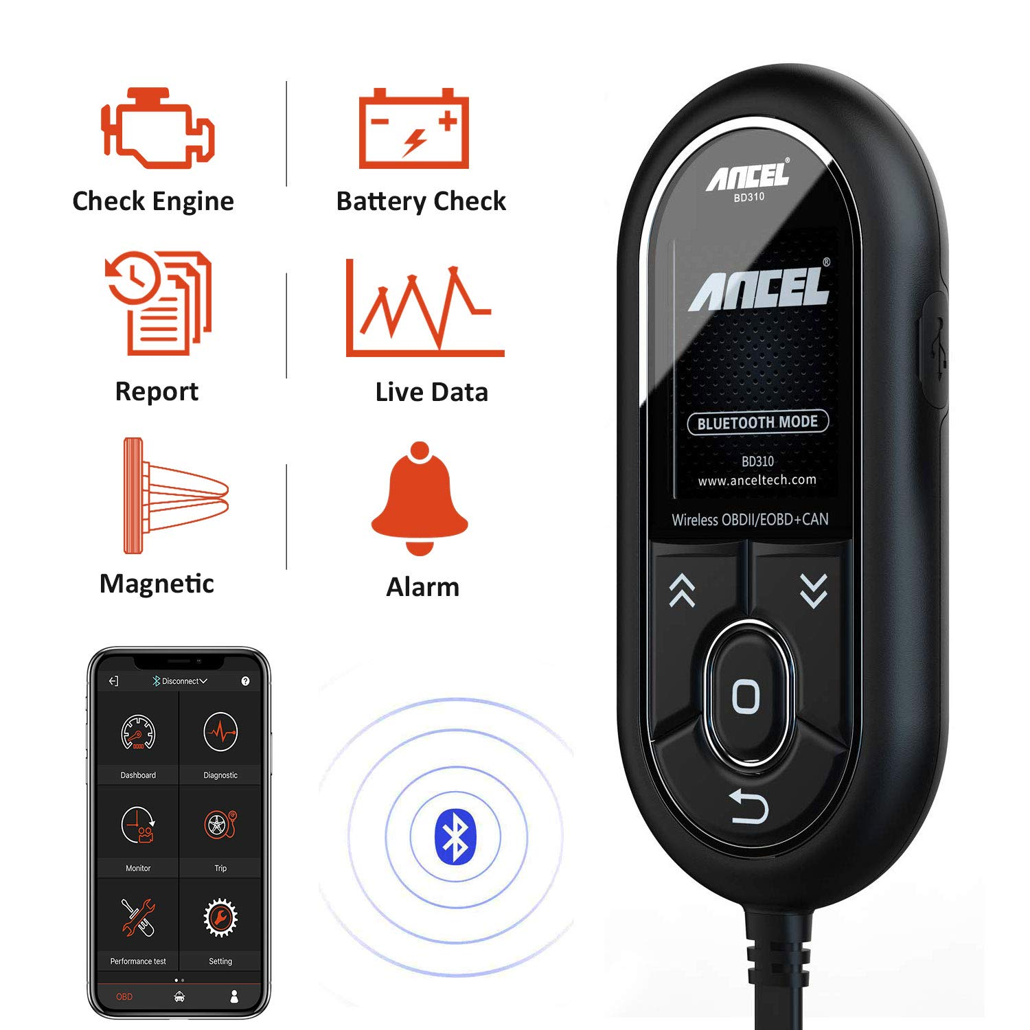 ANCEL BD310 Bluetooth OBDII Scanner with Battery Voltage Check and Exclusive App, Handsfree Magnetic Mount Attaching to Dash While Driving