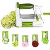 Spiralizer Vegetable Slicer, MILCEA 5 Blades Vegetable Spiralizer with Stronghold Suction, Vegetable Noodle Machine for Onion Carrots Tomato Courgette Zucchini for Low Carb/Gluten-Free Meals