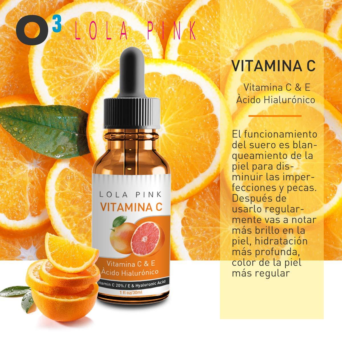 O³ Serum Vitamina C y Acido Hialuronico Lola Pink - 2 x 30 ml Con Copa Masaje Para La Cara De Silicona De Regalo | Serum Facial Vitamina C y Ácido ...