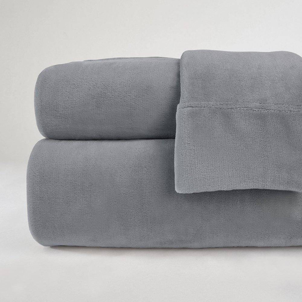 Berkshire Blanket Velvetloft Plush Sheets Set Lounge Robe, Queen, Grey Gust