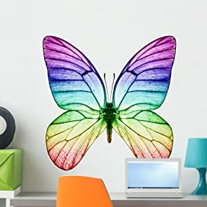 Wallmonkeys FOT-32988826-24 WM275622 Butterfly Rainbow Colors Peel and Stick Wall Decals H x 24 in W, 24