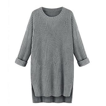 Sannysis Frauen Beiläufig Lange Ärmel Lose O-Hals Gestrickt Pullover Kleid  (grau) 76c1532a99