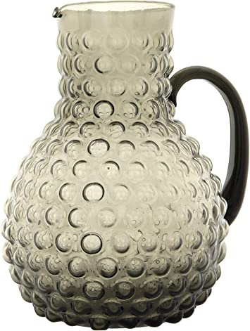 Creative Co-Op Clear Glass Pitcher with Embossed Star