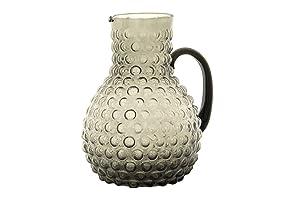 Creative Co-op Large Transparent Smoke Grey Hobnail Glass Pitcher