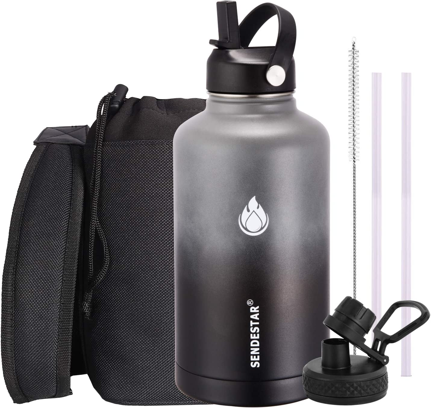 SENDESTAR Water Bottle 64oz Double Wall Vacuum Insulated Leak Proof Stainless Steel Sports Water Bottle—Wide Mouth with New Flex Straw Lid & Spout Lid (Gray&Black)