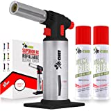Kitchen Torch With Butane included - Refillable Butane Torch With Safety Lock & Adjustable Flame + Fuel gauge - Culinary Torc