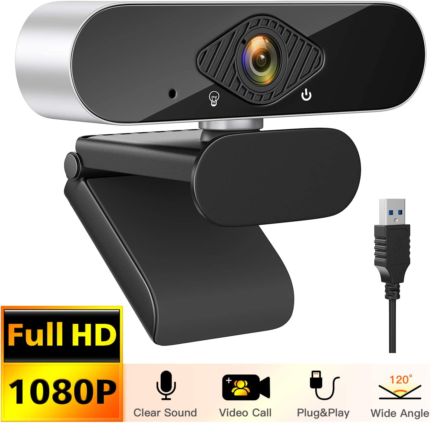 Webcam USB avec Microphone Anti-Bruit Int/égr/é pour Youtube Apprentissage Honmax Webcam 1080P appels vid/éo Skype Mac et Android. Cam/éra Web Compatible avec Windows conf/érence Jeux