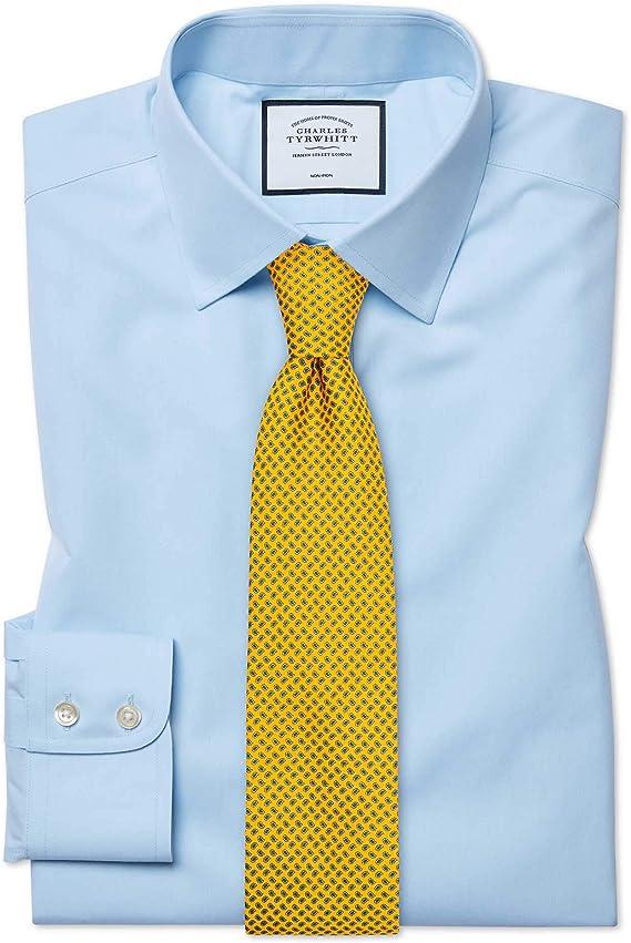 Charles Tyrwhitt Camisa Azul Celeste de Popelina y Corte clásico sin Plancha: Amazon.es: Ropa y accesorios