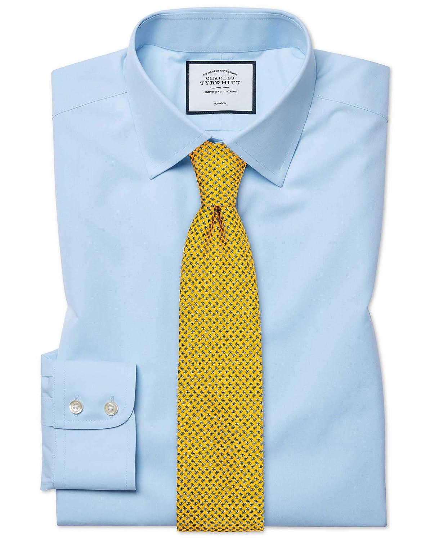 Bleu Ciel (Poignet Simple) 17.5   38 Chemise bleu ciel en popeline sans repassage avec coupe droite