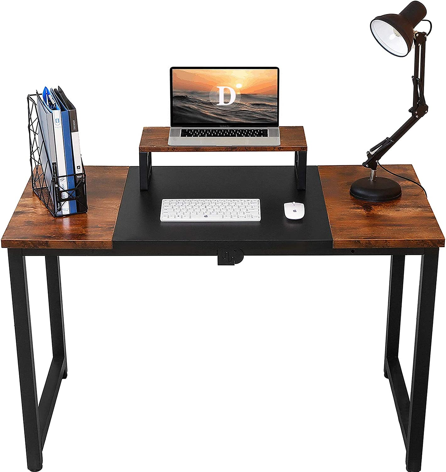"Computer Desk 55"", Home Office Writing Study Laptop Table,Modern Simple Style PC Desk with Splice Board, Black and Vintage"