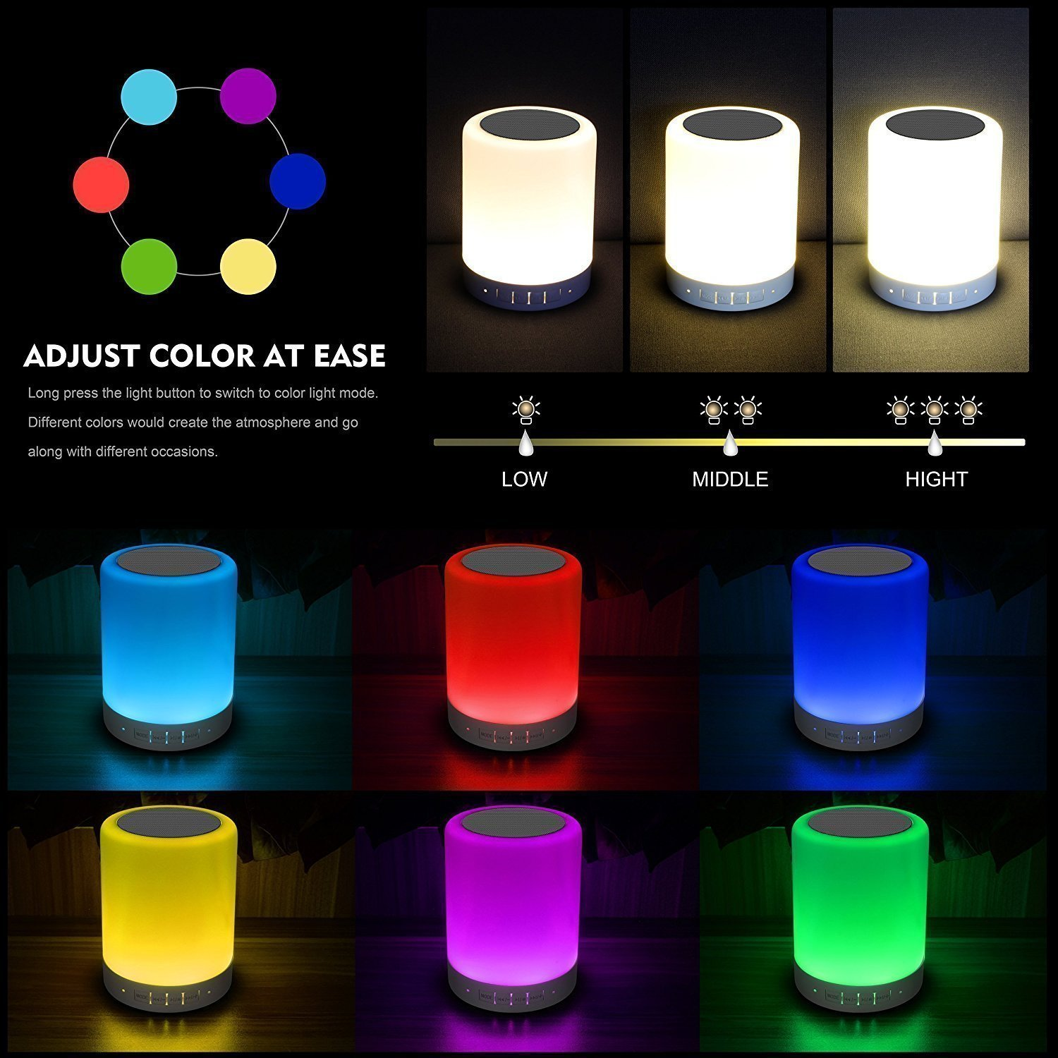 Gifts for Women /… Bluetooth Speaker Dimmable Warm White Light /& Color Changing Elecstars Touch Sensor Bedside Lamp