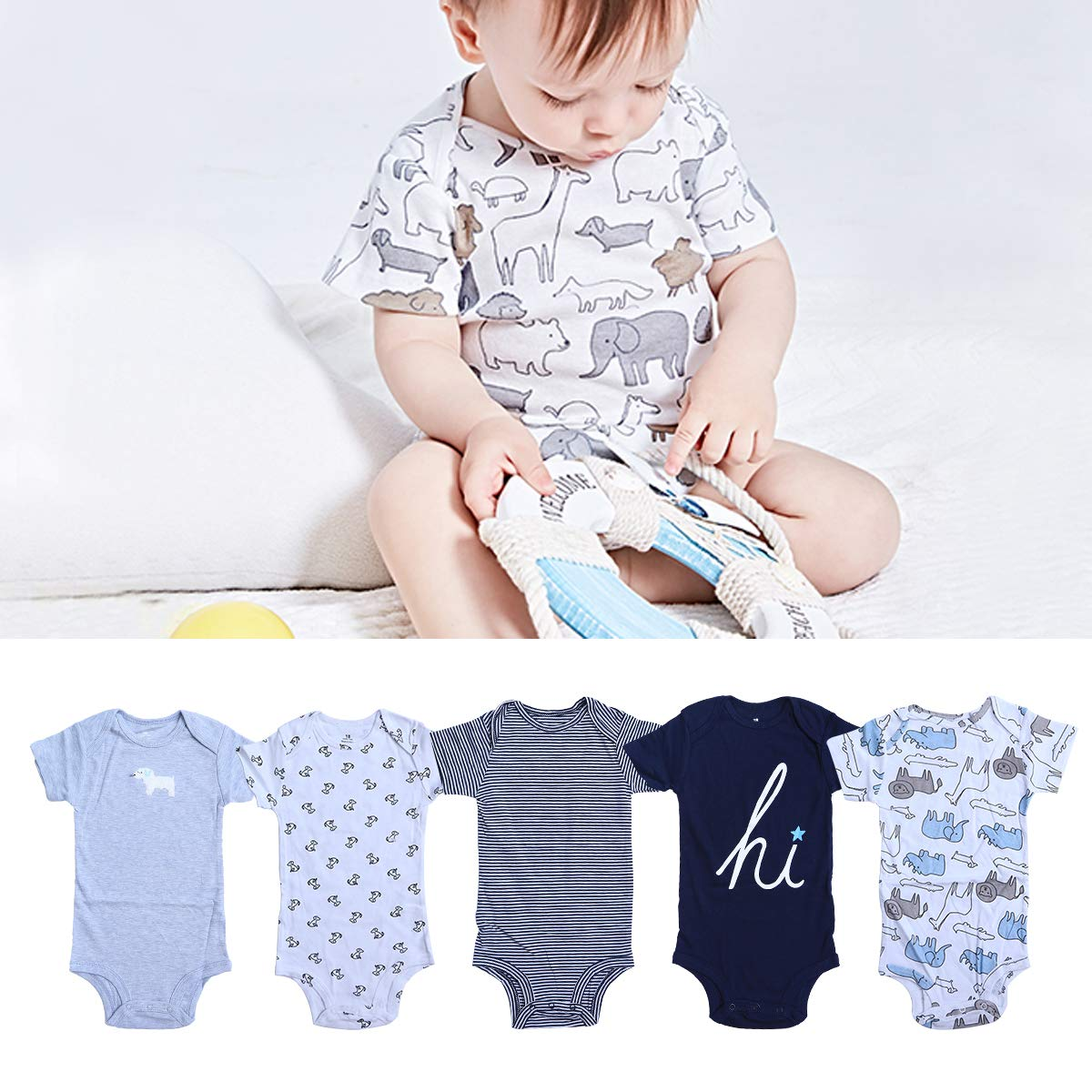 5pcs Baby Romper Cotton Short Sleeve Triangle Romper Bodysuit Outfits Infant Toddler Clothes for Boy Girl 07183 Elephant, 18cm
