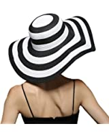 ASIMOON Women's Unique Embroidered Straw Hat Adjustable Crushable Wide-Brim Beach Floppy Sun Hat