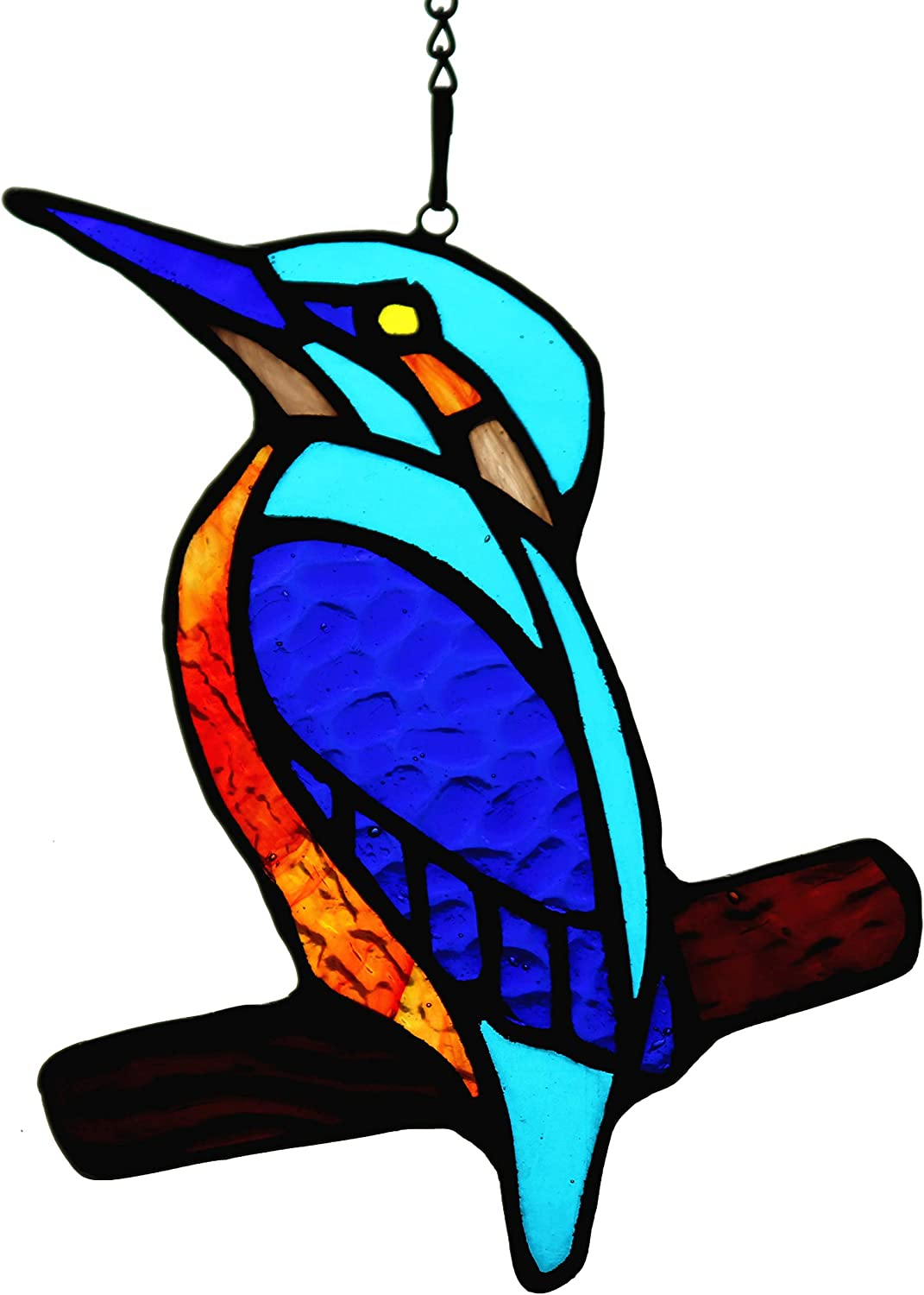 HAOSUM Blue Kingfisher Stained Glass Window Hangings Suncatcher Ornament with Chain Gift for Mom,Friends Size 4.2''×4.5''