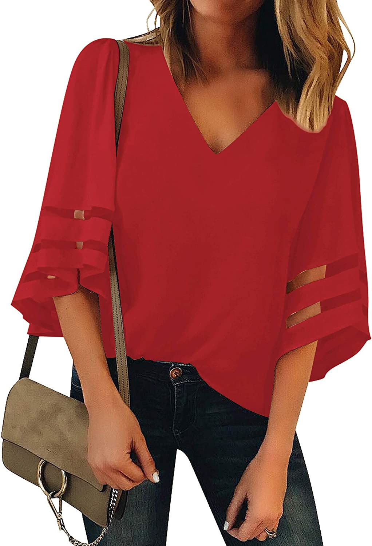 LookbookStore Womens V Neck Mesh Panel Blouse 3//4 Bell Sleeve Loose Top Shirt