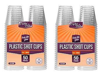 Vasos de chupito desechables de plástico duro. Transparentes, resistentes y reutilizables. 30 ml (100 unidades).: Amazon.es: Hogar