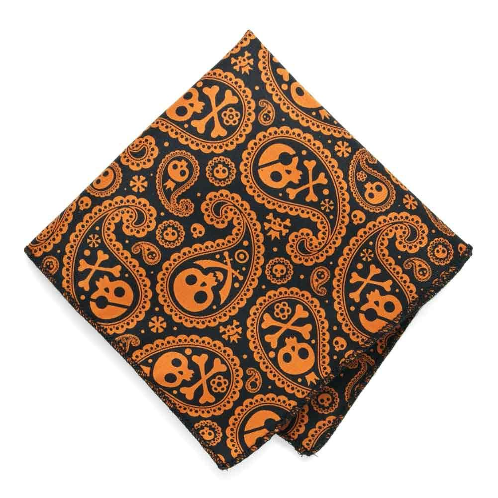 TieMart Skull and Crossbones Halloween Paisley Pocket Square AC09PP-1031
