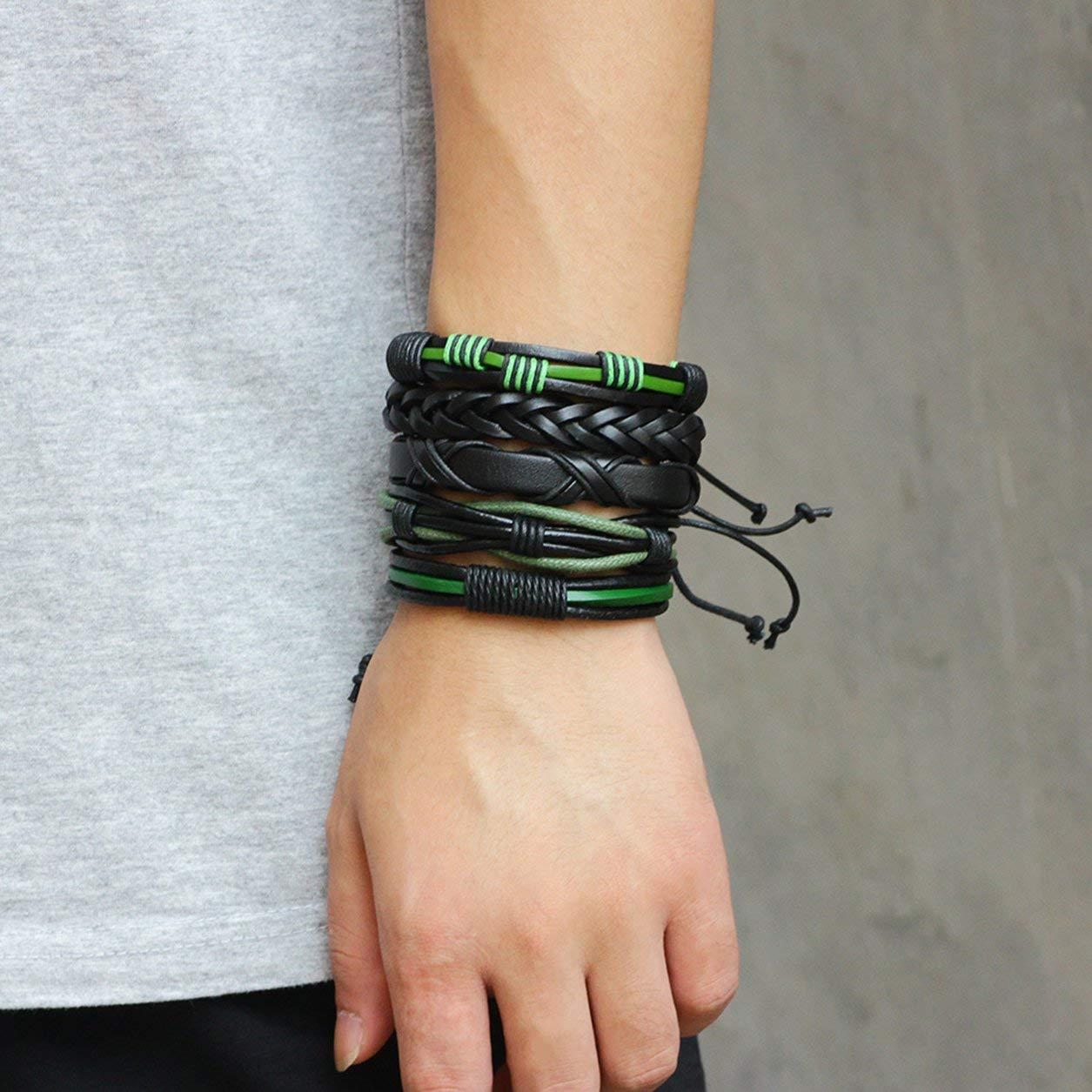 Moda Coreana 5 UNIDS//Conjunto Hombres de m/últiples Capas Hombre Pulsera Trenzada de Cuero de LA Pulsera Joyer/ía Casual Mejor Regalo de cumplea/ños Color: Negro y Verde