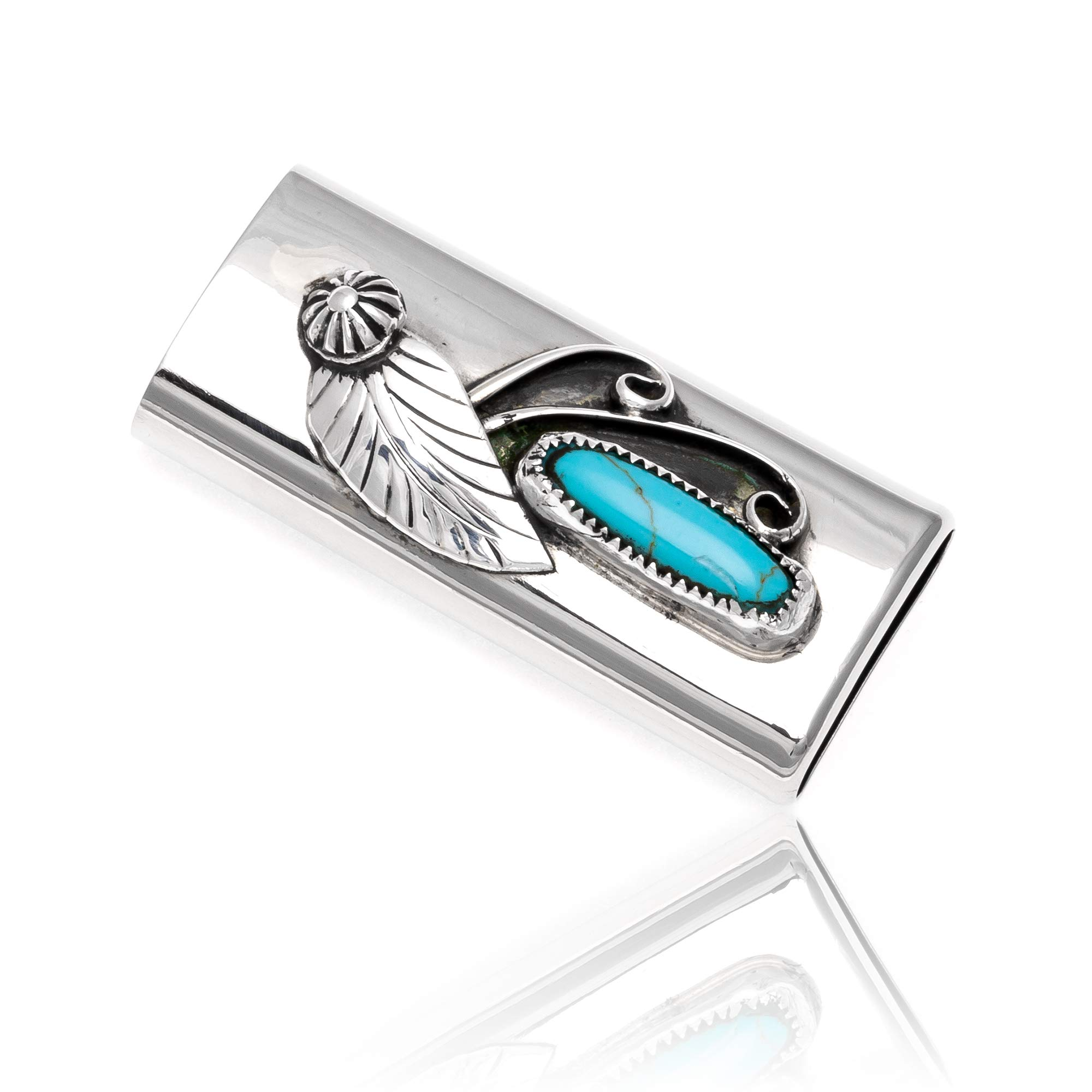 Native-Bay $200Tag Turquoise Silver Nickel Certified Navajo Flower Leaf Lighter Case 18334 Made by Loma Siiva
