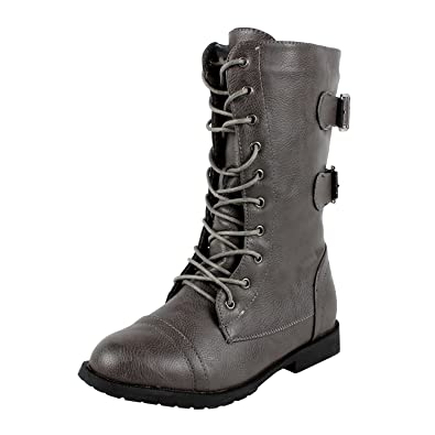 Amazon.com | West Blvd Womens Cairo Military Lace Up Combat Boots ...