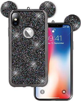 NALIA Glitter Funda Compatible con iPhone X XS Brillante Cubierta