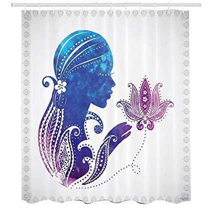 Paisley Shower CurtainEthnic Illustration Of Mandala Woman Silhouette With Watercolor EffectCloth Fabric