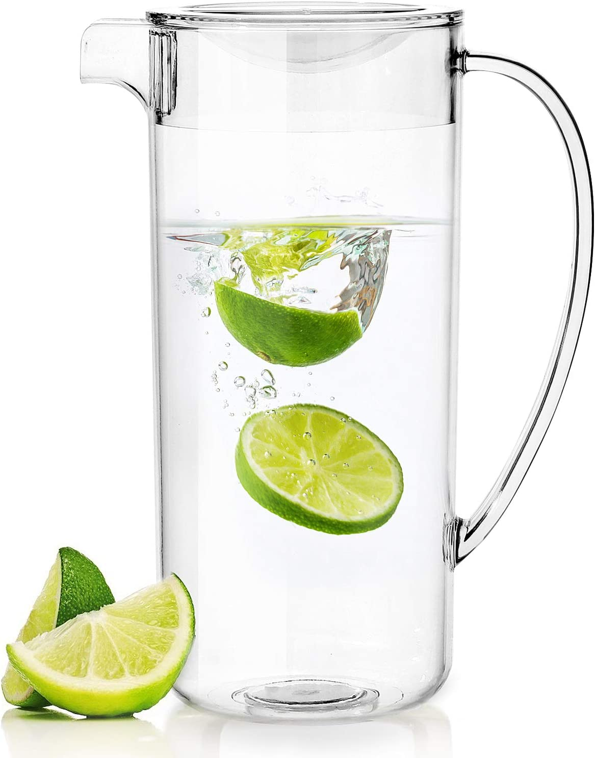 Youngever 2 Quarts Plastic Pitcher With Lid, Clear Plastic Pitcher Great for Iced Tea, Sangria, Lemonade, and More